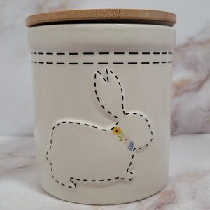 Easter Stitch Bunny Rabbit Cookie Jar Container